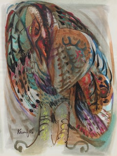 Colorful Abstracted Gestural Birds 1970-80s Gouache Painting