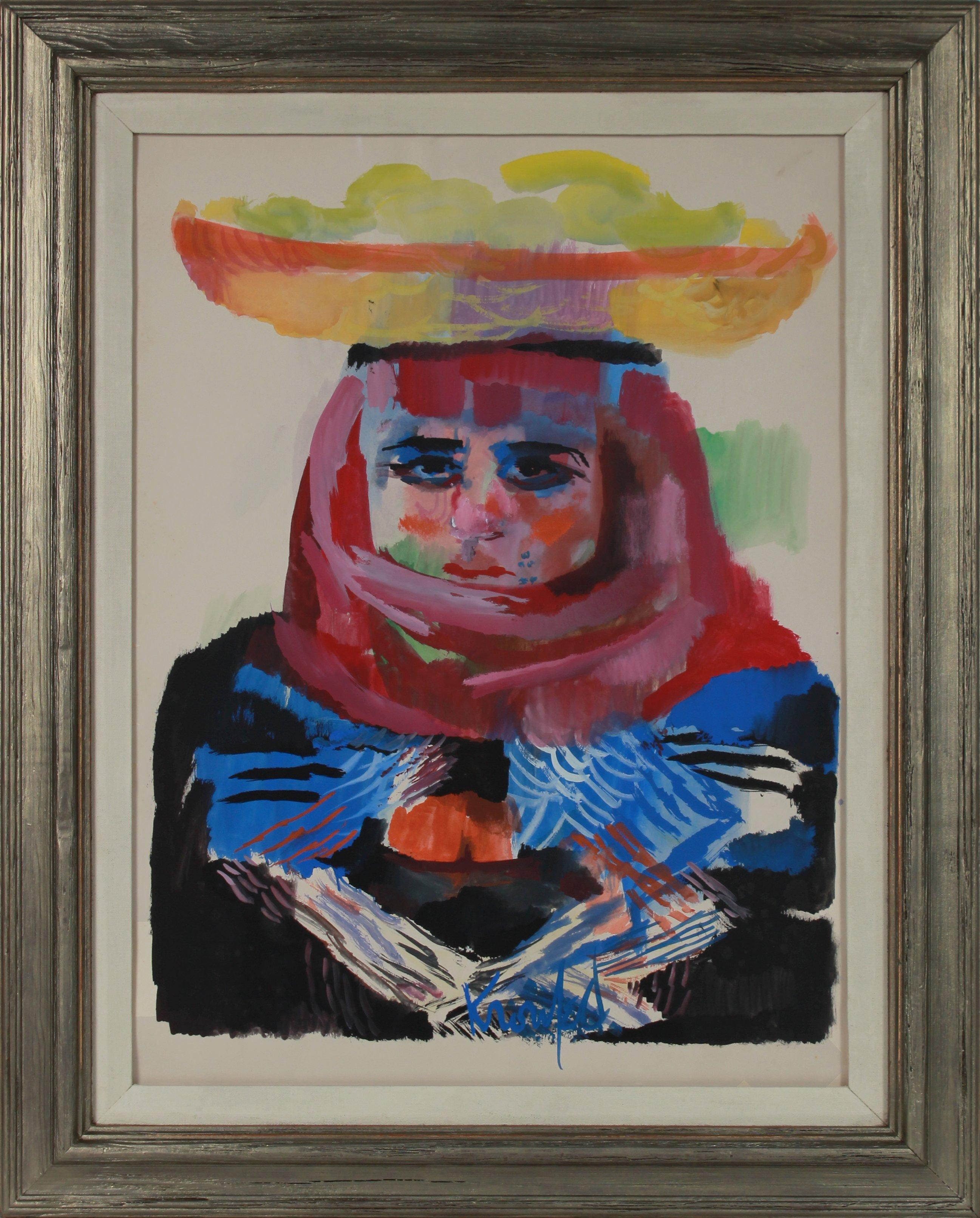 Colorful Portrait of Fruit Seller 1960-70s Gouache Painting