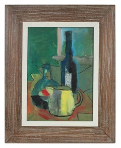 Colorful Still Life Oil Painting in Green Red and Yellow, Mid 20th Century