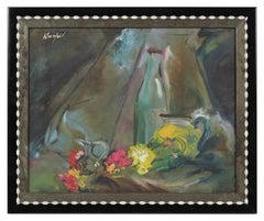 Mid Century Floral Still Life, Oil Painting