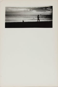 Black and White Beach Scene 1970s Photograph
