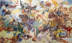 """Beachscape,"" abstract, casein, Morris Shulman, Monhegan Island, Maine Coast"