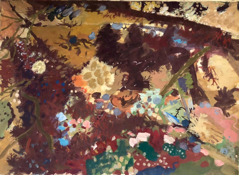 """Morris Shulman Landscape Painting - Gouache Painting """"Anemone Tide Pool"""" American WPA Abstract Expressionist Artist"""
