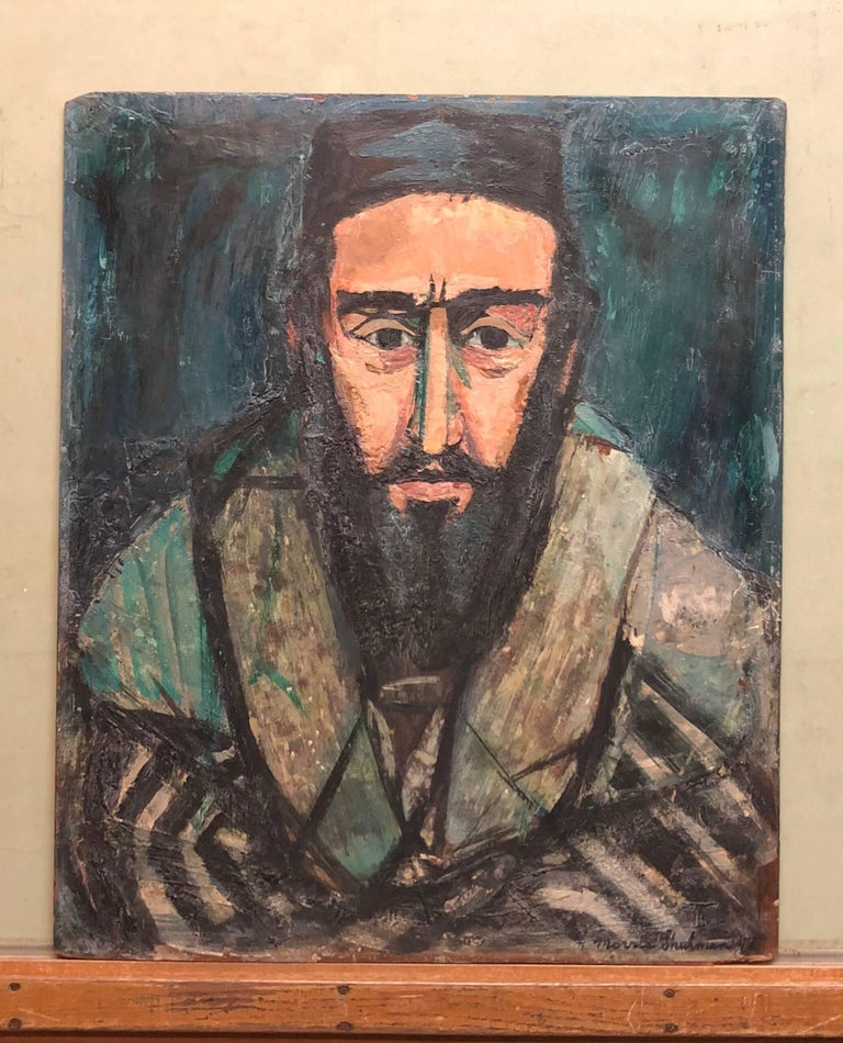 Judaica Rabbi Portrait Oil Painting American WPA Abstract Expressionist Artist - Gray Portrait Painting by Morris Shulman