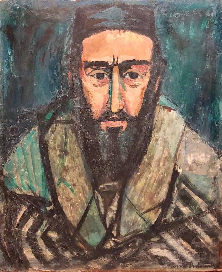 Morris Shulman Portrait Painting - Judaica Rabbi Portrait Oil Painting American WPA Abstract Expressionist Artist