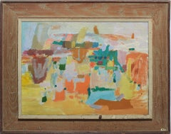 Vintage American Abstract Modernist Mohegan Maine Painting by Morris M Shulman