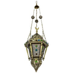Morrocan Cut Brass Lantern with Glass Gems