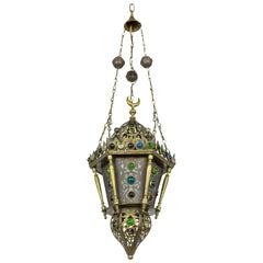 Morrocan Cut Brass Lantern with Glass Gems