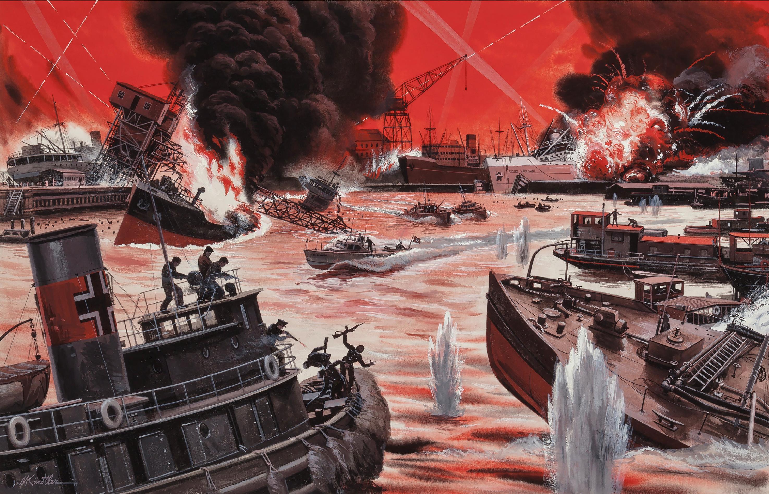 Battle Scene At Sea World War II . Dead Soldiers and  Blood Red Sea