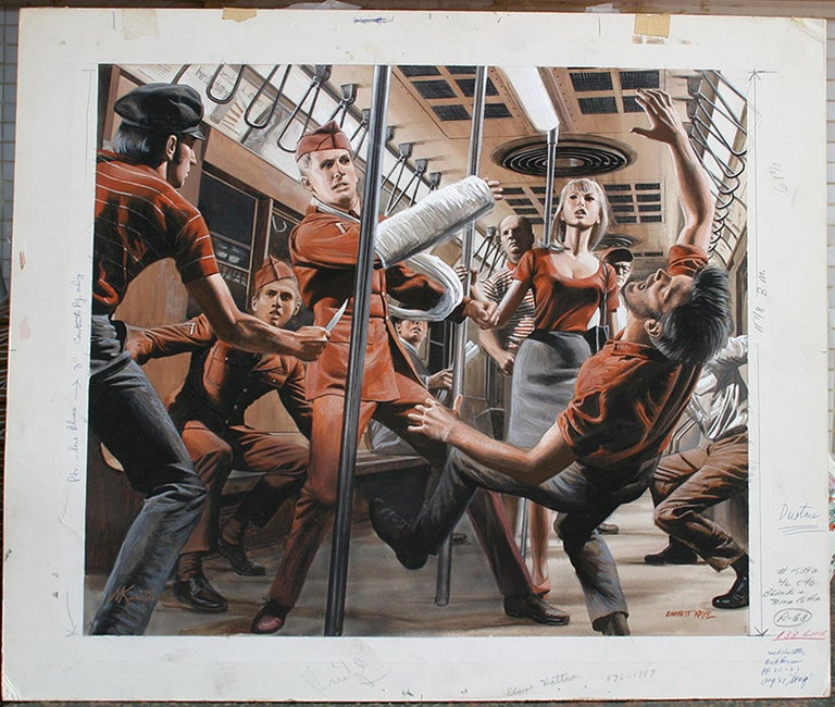 Soldier Beats Up Muggers on Subway - Stag Magazine story illustration - Painting by Mort Künstler