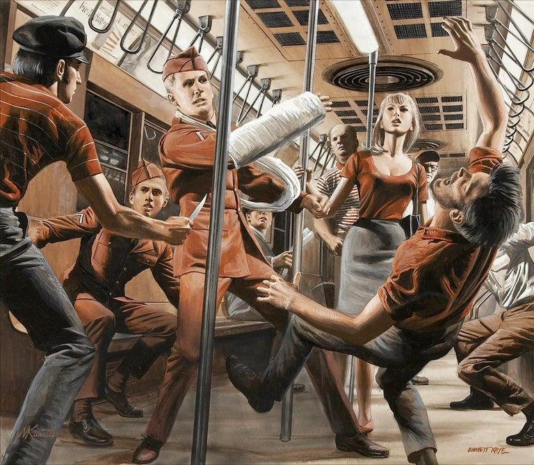 Mort Künstler Portrait Painting - Soldier Beats Up Muggers on Subway - Stag Magazine story illustration