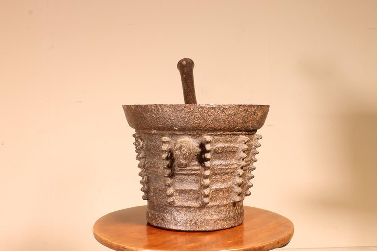 Iron mortar with its original pestle end 15th beginning 16th century Gothic period, France  Beautiful original object with a beautiful patina and in good condition
