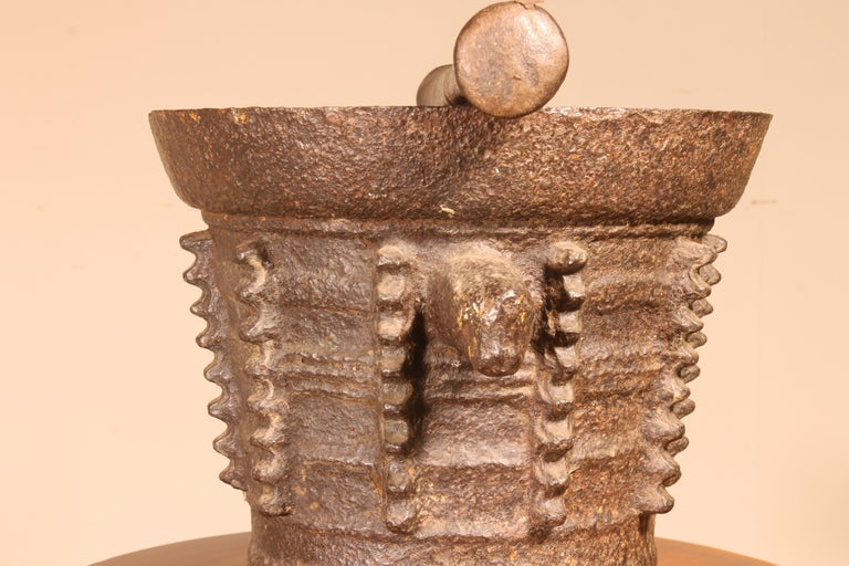 18th Century and Earlier Mortar and Pilar End 15th Century Gothic Period For Sale