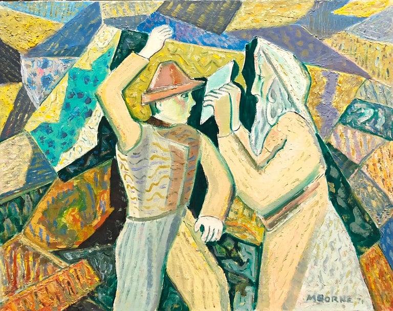 Judaica Modernist Oil Painting 'Know Thyself' Israeli Kibbutz Pioneer, Prophet - Beige Figurative Painting by Mortimer Borne
