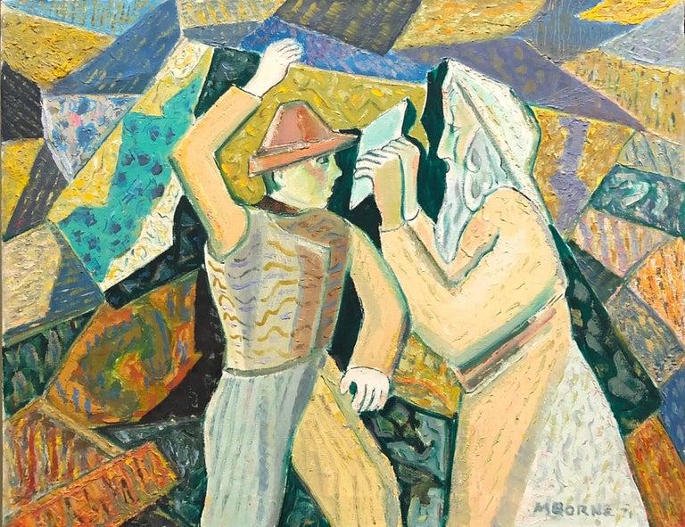 Mortimer Borne Figurative Painting -  Judaica Modernist Oil Painting 'Know Thyself' Israeli Kibbutz Pioneer, Prophet