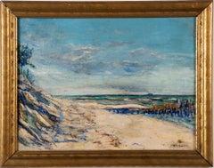 Vintage American Modernist Coastal Beach Seascape Framed Original Oil Painting