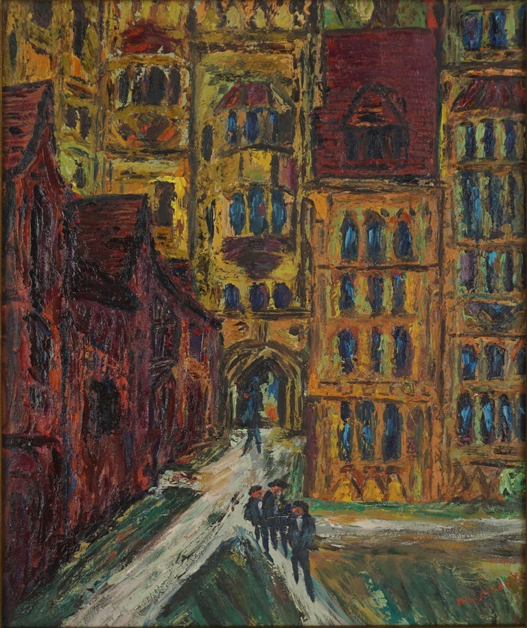 Mid Century Paris -- The Courtyard - Painting by Morton Larsen