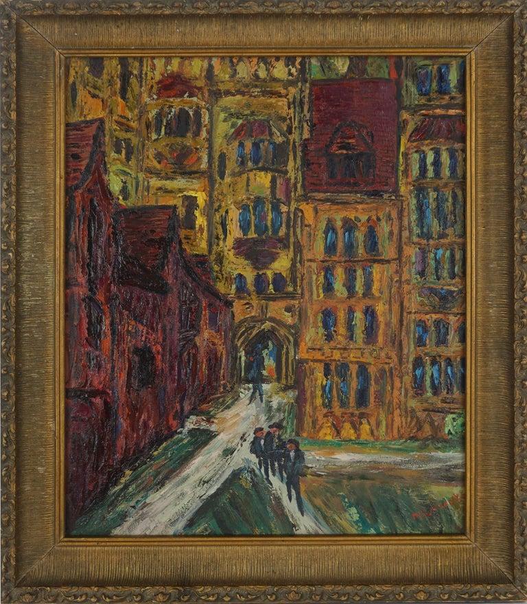 Morton Larsen Landscape Painting - Mid Century Paris -- The Courtyard