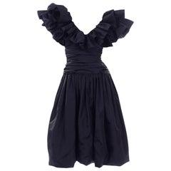 Morton Myles 1980s Navy Blue Taffeta Ruffled Vintage Party Dress