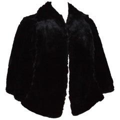 Morton's Washington DC Black Sheared Beaver Fur Stole Cape Vintage 1960s