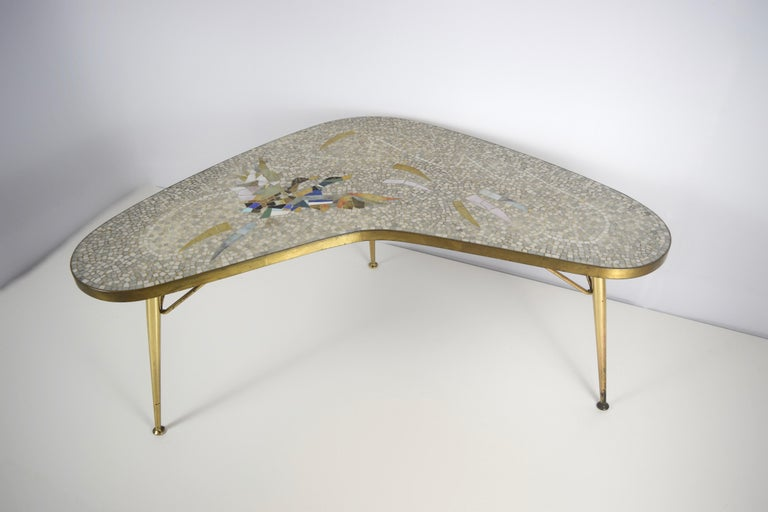 Mid-Century Modern Mosaic and Brass Coffee Table by Berthold Müller-Oerlinghausen, Germany 1950s For Sale