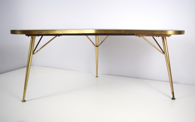 Mosaic and Brass Coffee Table by Berthold Müller-Oerlinghausen, Germany 1950s In Good Condition For Sale In Hellouw, NL