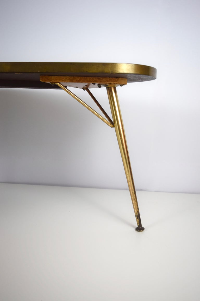 Mid-20th Century Mosaic and Brass Coffee Table by Berthold Müller-Oerlinghausen, Germany 1950s For Sale
