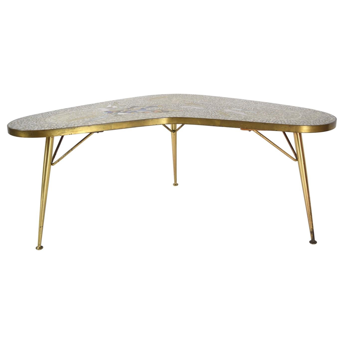 Mosaic and Brass Coffee Table by Berthold Müller-Oerlinghausen, Germany 1950s