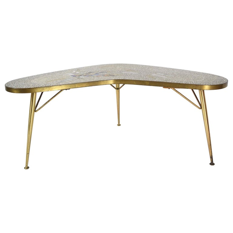 Mosaic and Brass Coffee Table by Berthold Müller-Oerlinghausen, Germany 1950s For Sale