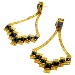 Mosaic Art Deco 20 Karat Yellow Gold Black Diamonds Coomi Drop Earrings