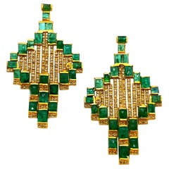 Mosaic Art Deco Style 20 Karat Yellow Gold Coomi Emerald Earrings