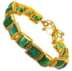 Mosaic Art Deco 20 Karat Yellow Gold Emerald Coomi Bracelet