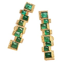 Mosaic Art Deco Style Emerald 20 Karat Yellow Gold Coomi Earrings