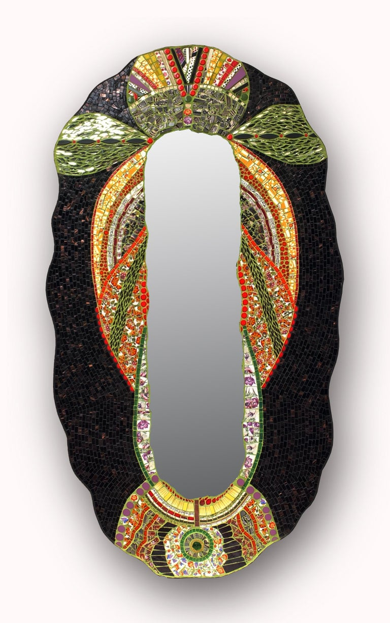 Glass Mosaic Art Deco Style Mirror, France For Sale