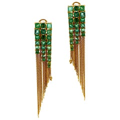 Mosaic Art Deco Style Tassel Drop 8.80 Carat Emerald Coomi Earrings