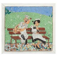 Mosaic Artwork Popeye and Olivia, circa 1970
