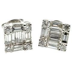 Mosaic Baguette Diamond Stud Earrings 18 Karat White Gold