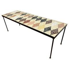 Mosaic Diamond Pattern Tile Coffee Table, Circa 1950s