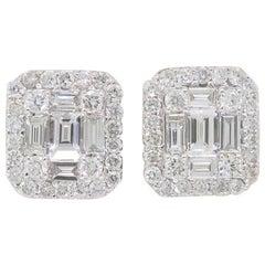 Mosaic Diamond Stud Earrings in 18 Karat White Gold