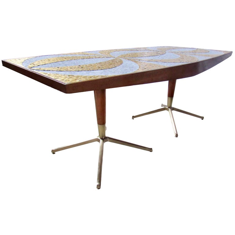 Mosaic Dining Table Writing Desk Gold And Marble Tile