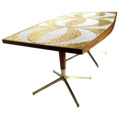 Mosaic Dining Table Writing Desk Gold and Marble Tile Bronze Bases, circa 1958