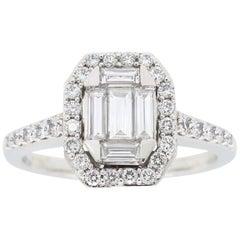 Mosaic Emerald Shaped Diamond Ring