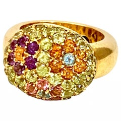 Mosaic Flower 18 Karat Gold Dome Ring-Peridot, Amethyst, Citrine, Topaz