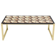 Mosaic Marble-Top Solid Brass Bracket Legs Coffee Table