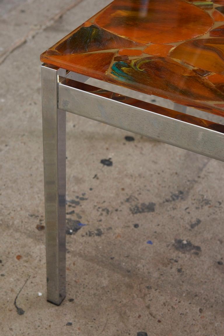 Rectangular Glass Coffee Table: Mosaic Modernist Rectangular Inlay Orange Glass Top Coffee