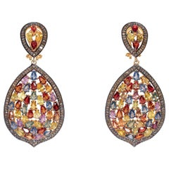 Mosaic of Colored Sapphires and Diamond Dangle Earrings
