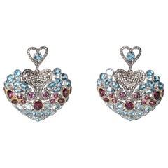 Mosaic of Diamond, Pink Tourmaline and Aquamarine Dangle Earrings