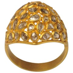 Mosaic of Rosecut Diamonds and 22 Karat Gold Bombe Cactus Cocktail Ring