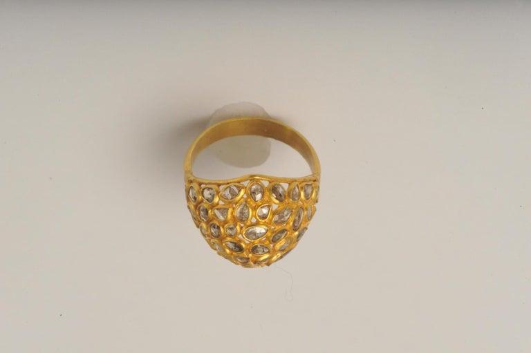 Women's or Men's Mosaic of Rosecut Diamonds and 22 Karat Gold Bombe Cactus Flower Ring For Sale