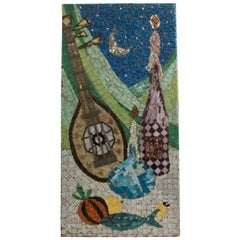 Mosaic Panel by Ruth Black Classic Cubistic Still Life Glass Tile, 1950s-1960s